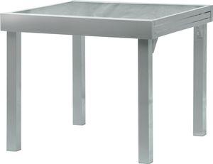 ib style® DIPLOMAT Ausziehtisch 90-180cm Gartentisch Aluminium Tischplatte aus Sicherheitsglas SILBER