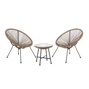 SVITA BALI Balkon-Möbel 3-tlg. Polyrattan Lounge-Set Balkon-Set Braun