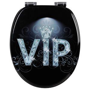 WOLTU Premium WC-Sitz Toilettensitz mit Absenkautomatik, MDF Holzkern, Softclose Scharnier, Antibakteriell, Desgin Décor VIP II