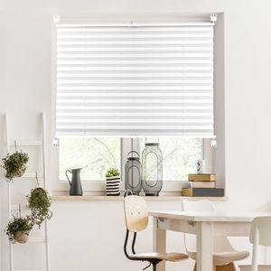Plissee Klemmfix Fenster Jalousie Rollo Sonnenschutz 95x200 cm Weiß , inkl. Zubehör