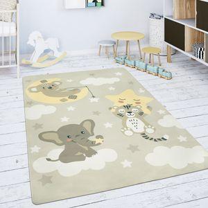 Kinderteppich Teppich Kinderzimmer Spielmatte Stern Wolke Mond Beige Weiß, Grösse:120 cm Rund