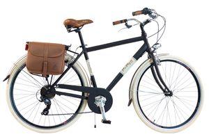 Via Veneto by Canellini Fahrrad Citybike Mann Aluminium mit Seitentaschen - Schwarz 50