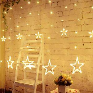 LED Lichterkette 12 warmweiss Sterne Lichtervorhang Weihnachten Party Sternen