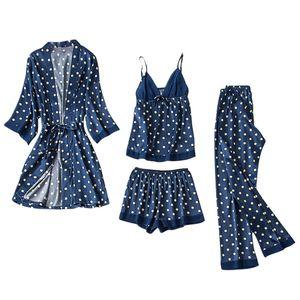 Frauen Satin Seide Pyjamas Strickjacke Nachthemd Bademantel Roben Unterwäsche Nachtwäsche Größe:S,Farbe:Blau