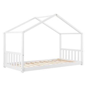 Juskys Kinderbett Paulina 90 x 200 cm mit Lattenrost und Dach - Bett für Kinder aus massivem Holz - Hausbett in Weiß