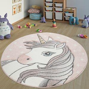 Teppich Kinderzimmer Rund Kinderteppich Mädchen Einhorn Motiv, Modern In Pink, Grösse:Ø 160 cm Rund