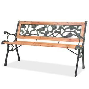 Huicheng 2-Sitzer Gartenbank Sitzbank 122 x 51 x 73 cm aus Holz und Gusseisen