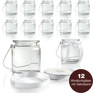WeddingTree 12 x Windlichter mit Bügel und Dekoband weiß - Teelichtglas - 9 cm hoch - für Hochzeit Gartenparty Floristik als Tischdeko