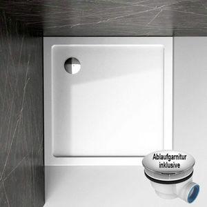 Duschtasse Duschwanne Acryl Brausewanne Bad Super Ultra flach 100 x 100 x 4 cm inkl. Ablaufgarnitur NEU