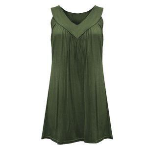 Mode Frauen V Kragen Ärmel Kopf ärmellose Pure Color Fold Tops Blusen Kleid Größe:L,Farbe:Grün