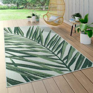 In- & Outdoor Teppich Palmen-Muster Terrasse Balkon Flachgewebe Grün Beige, Grösse:140x200 cm
