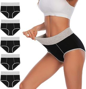 Damen Unterhosen Unterwäsche Baumwolle Taillenslip Hohe Taille Miederhose Mehrpack(3XL)