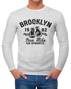 Herren Longsleeve Boxen Iron Mike Brooklyn Retro Design Langarm-Shirt Fashion Streetstyle Neverless® grau-melange L