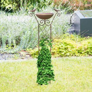 Rankhilfe Metall Rost mit Vogeltränke Rankgitter Gartendeko Rankenfilfen H 82 cm