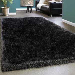 Edler Teppich Shaggy Hochflor Einfarbig Flauschig Glänzend In Anthrazit, Grösse:80x150 cm