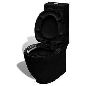 SIRUITON Keramik-Toilette Tiefspül-Stand-WC Tiefspüler Toilette mit WC-Sitz Badezimmer Waagerechter Abgang Schwarz