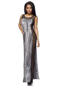 Langes Kleid im zebra Look mit transparenter Seite Größe M