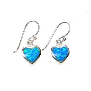 Blaue Opal-Herzohrringe