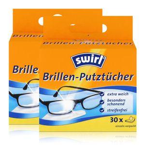 Swirl Brillen Putztücher 30 stk. Tücher - Mit Anti-Beschlag-Effekt (2er Pack)