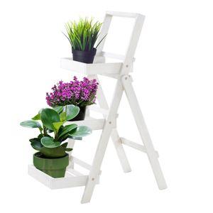 Raburg Pflanzregal aus massivem Akazienholz in weiß – 3-Stöckiges klappbares Blumentreppe/Leiterregal 105x45x75 cm (HxBxT)