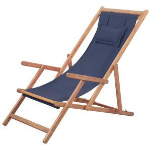 Klappbarer Strandstuhl Gartenliege Liegestuhl Stoff und Holzrahmen Blau