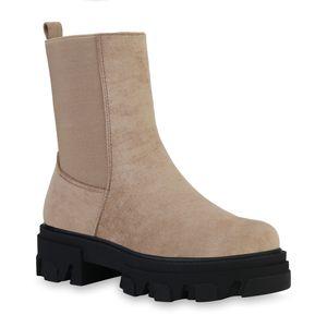 Mytrendshoe Damen Stiefeletten Plateau Boots Stiefel Profil-Sohle Schuhe 835598, Farbe: Beige Velours, Größe: 39