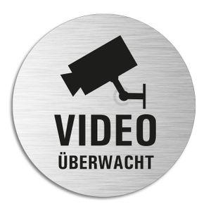 Schild - Video Überwacht | Türschild aus Aluminium | Edelstahloptik selbstklebend  Ø 75 mm