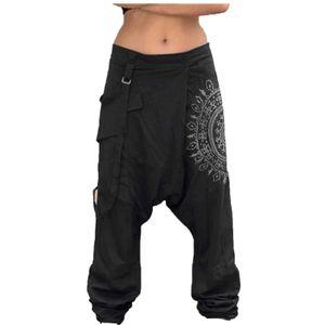 Herren Modedruck Plus Size Lässig Elastische Taille Taschen Breites Bein Haremshose Größe:XXXL,Farbe:Schwarz