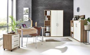 BMG-Moebel.de Büromöbel komplett Set Arbeitszimmer Office Edition Mini in Sonoma Eiche/Weiß Matt (Set 4)