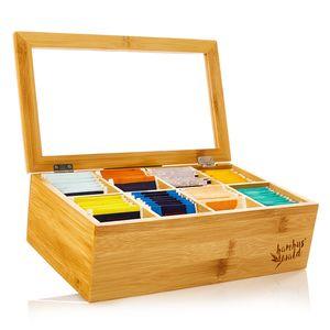 Klarstein Teebox Teekasten Teebeutelspender Aufbewahrungsbox , 8 Fächer , Holzoptik , Kunststoff-Sichtfenster , für 120 Teebeutel , aus Bambus