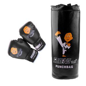 Kinder Jugend Kinder Boxing Kit Training Bag Set Boxsack Kickbag Handschuhe Heavy Bag Bundle Farbe Schwarz