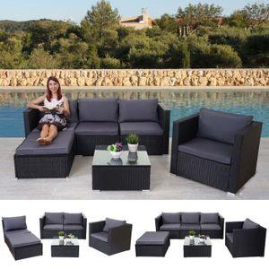 Poly-Rattan-Garnitur Brescia, Gartengarnitur Sitzgruppe Sofa Lounge-Set  schwarz, Kissen anthrazit