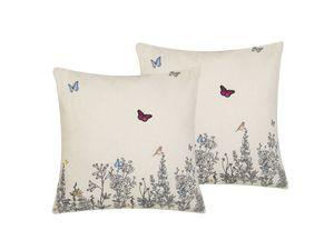 Dekokissen Beige 45 x 45 cm 2er Set Leinenoptik Baumwolle Polyester Schmetterlingsmotiv Salon Schlafzimmer Wohnzimmer Quadratisch Modern