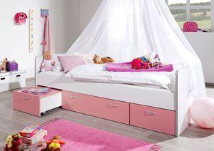Relita Funktions-Kojenbett Bonny mit 3 Schubladen, 205cm x 65cm x 95/145 cm, weiß/rosa