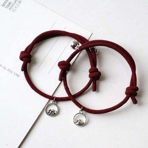 Mllaid 2pcs Attract Paare Armbänder Seil Weben Magnet Liebe