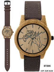Pacific Time Armbanduhr Pferd Holzuhr Holz Gehäuse Canvas Textil Armband 87205