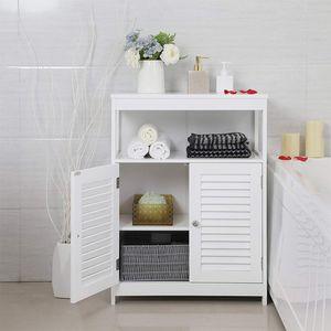 Badkommode Badschrank  Sideboard Badezimmerregal, freistehend mit 2 Lamellentüren 80x60x30cm weiß
