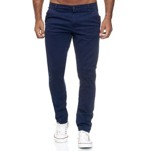 Reslad Herren Chino Hose Slim Fit Herrenhose Stretch Stoffhose   bequeme Chino Hosen für Herren Baumwolle Designer 5-Pocket Hose Navyblau W34 / L32