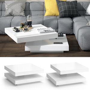 VICCO Couchtisch ELIAS weiß 360° drehbar 70 x 70 x 34 cm Wohnzimmertisch Tisch