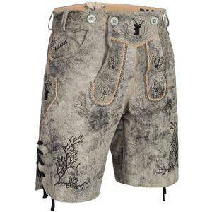 PAULGOS Herren Trachten Lederhose kurz - HK3 ANTIK - Echtes Leder - in 3 Farben erhältlich - Größe 44 - 60, Farbe:Mitternachtsgrau, Größe:56