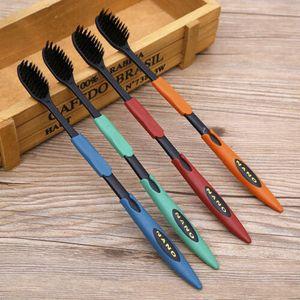 4 X Doppel Ultra Weiche Zahnbürste Bambus Holzkohle Nano Bürste Oral Clean G0N0
