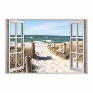 156 Wandtattoo Fenster - Weg zum Ostseestrand : Größe - 1000 x 670 mm