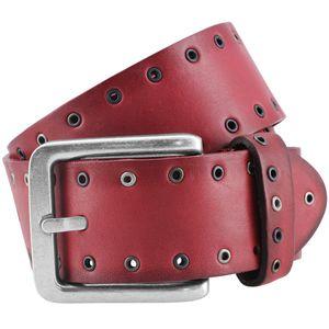 LINDENMANN The Art of Belt Ledergürtel Damen / Herren Gürtel, Vollrindleder, unisex, dunkelrot, Größe / Size:100, Farbe / Color:rot