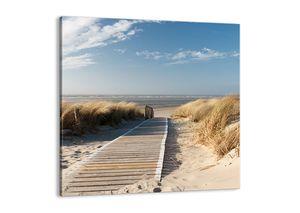 "Leinwandbild - 40x40 cm - ""Hinter der Düne, im Rascheln des Grases""- Wandbilder - Meer Strand Düne - Arttor - AC40x40-2657"