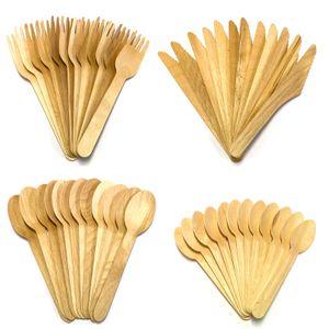 48 tlg. Bambus Einwegbesteck | Holz Einweg Messer Löffel Gabel Teelöffel Besteck | Holzbesteck Partybesteck