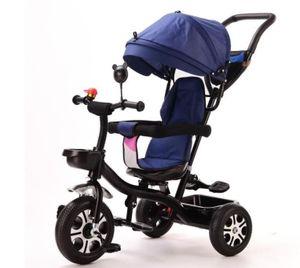 Kinderdreirad Dreirad 4 in 1 Sonnendach Kinderwagen Fahrrad Baby Kleinkinder Dunkelblau