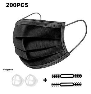 200Pcs Einwegmasken, Mundschutz 3-Lagig, OP Maske , Atemschutzmasken,Gesichtsmasken,  Schutzmasken, Mundmaske,antibakterielle Masken, Maskenstaubdicht, speichelsicher, schwarz
