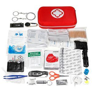 Neue 241 Stücke Upgrade SOS Survival Kit + Erste-Hilfe-Kit Medizinische Notfalltaktische Ausrüstung für Home Office Auto Boot Camping Wandern Reise oder Adventuresl