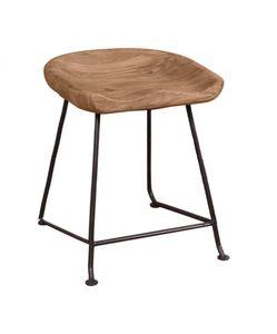 SIT Möbel Hocker mit Fußstütze | Sitzschale Akazie natur | Gestell Metall schwarz | B 42 x T 38 x H 48 cm | 11845-01 | Serie NATURAL EDGE