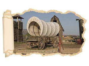 3D Wandtattoo Western Wagen retro Indianer Prärie Tapete Wand Aufkleber Wanddurchbruch sticker selbstklebend Wandbild Wandsticker Wohnzimmer 11P1059, Wandbild Größe F:ca. 140cmx82cm
